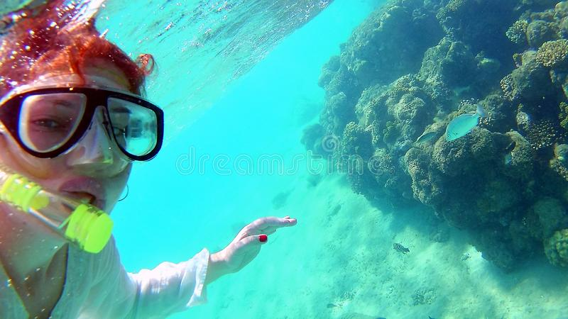 Young woman girl makes selfie, takes pictures of herself under water in the sea, near the coral reefs.  royalty free stock photography
