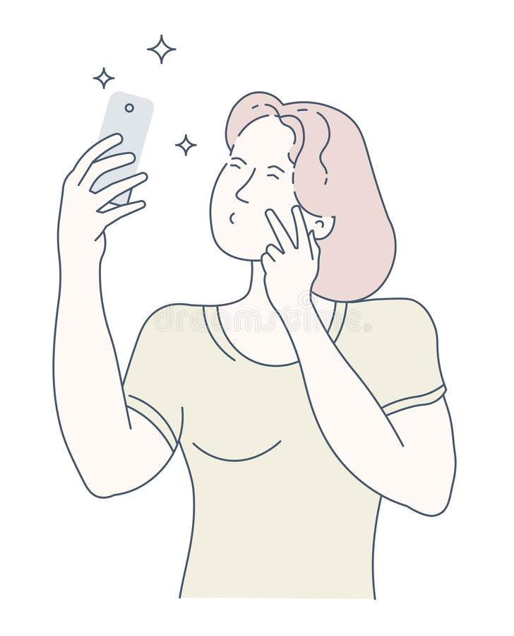 Young woman taking a selfie on her smartphone stock illustration