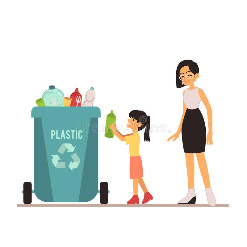 A young woman and girl throws out trash in a plastic bin or container with bottles. royalty free illustration