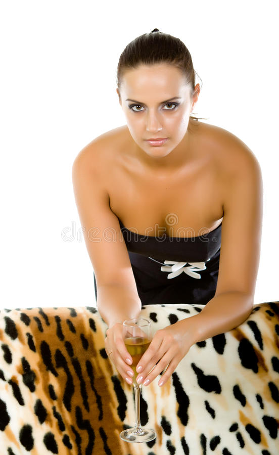 Download Young Woman With A Glass Of Champagne Stock Photo - Image: 24380884
