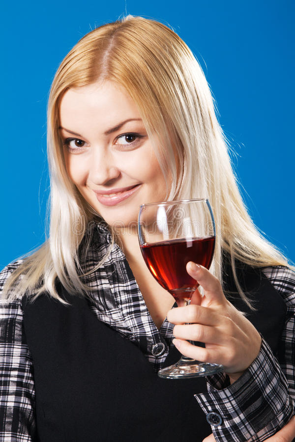 Download Young Woman With A Glass Of Red Wine Stock Photo - Image: 13360312