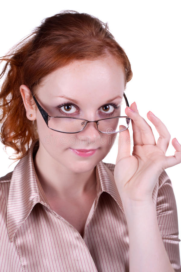 Download Young woman in glasses stock photo. Image of white, confidence - 21402270