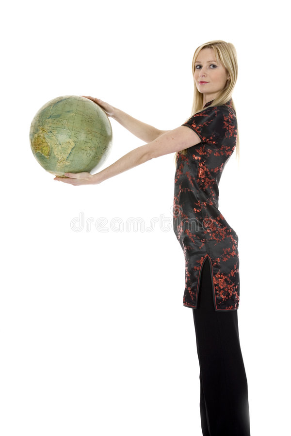Young woman with globe royalty free stock photos