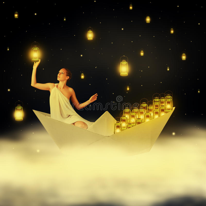 Free Young Woman Goddes In Night Sky Stock Photos - 31779713