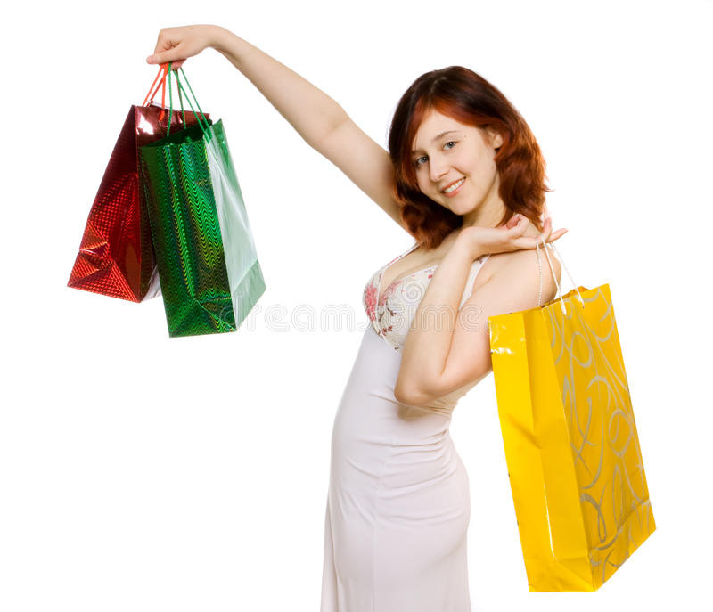 Download Young woman goes shopping stock image. Image of consumption - 12575559