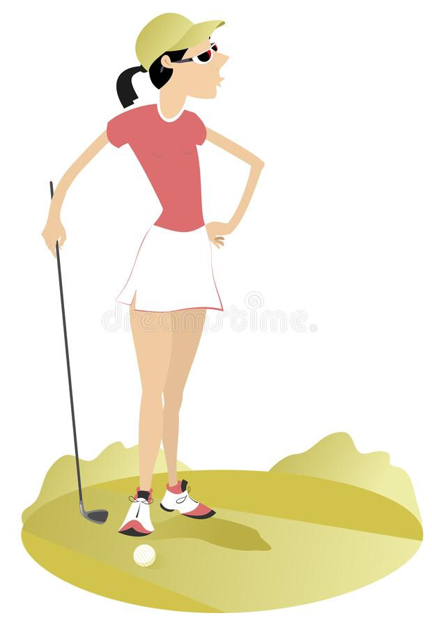 Woman golfer on the golf course illustration. Young woman with golf club on golf illustration stock illustration