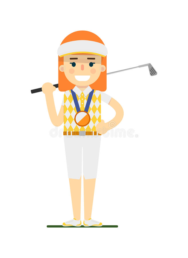 Young woman golfer with golf club stock illustration