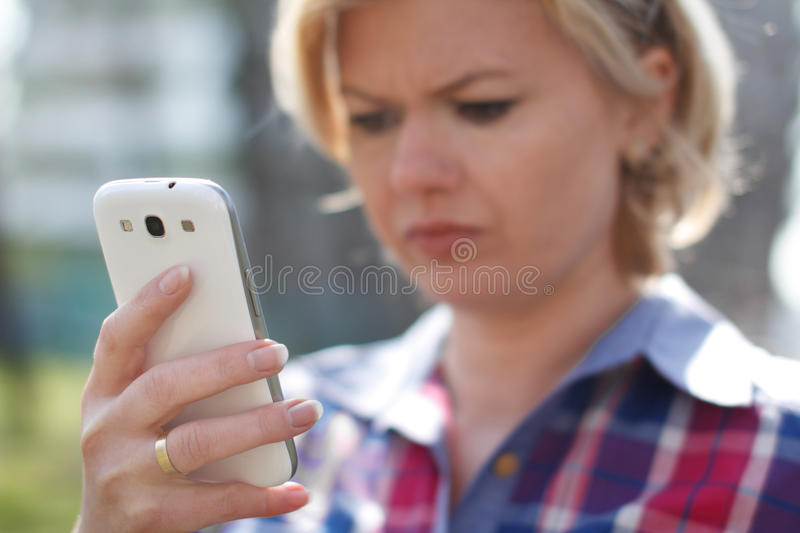Young woman got bad news stock photography