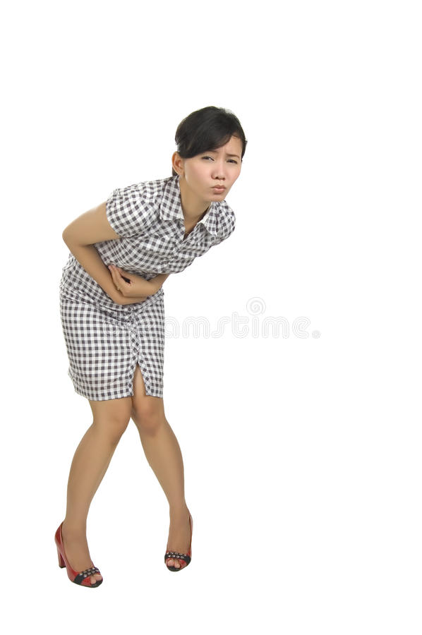 Young woman got stomach ache stock photos