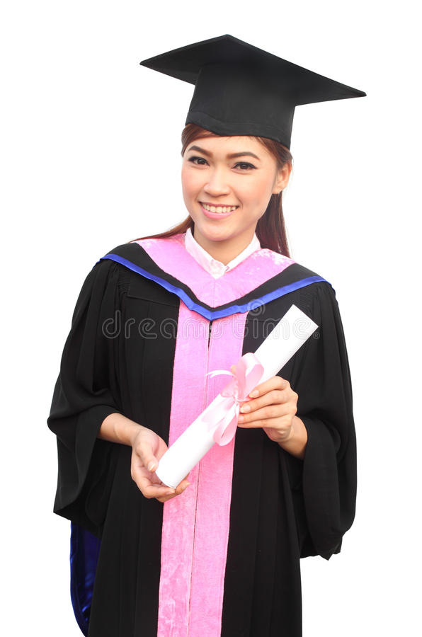 Woman With Graduation Cap And Gown With Arm Raised Stock Photo ...