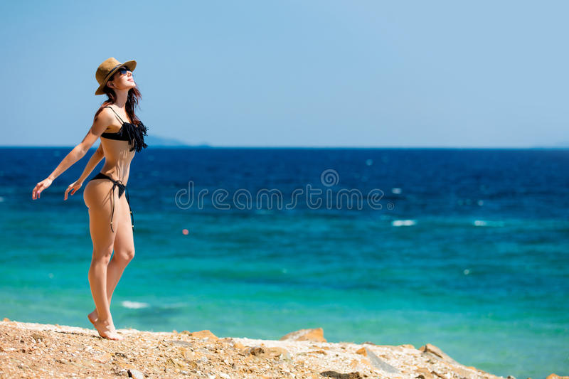 Young woman in Greece stock images