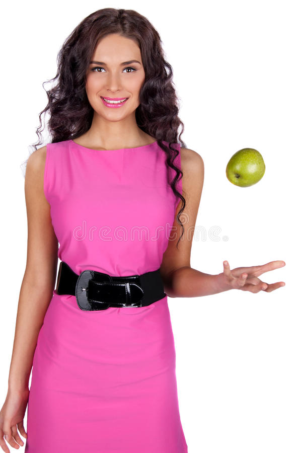 Young woman with green apple isolated royalty free stock photography