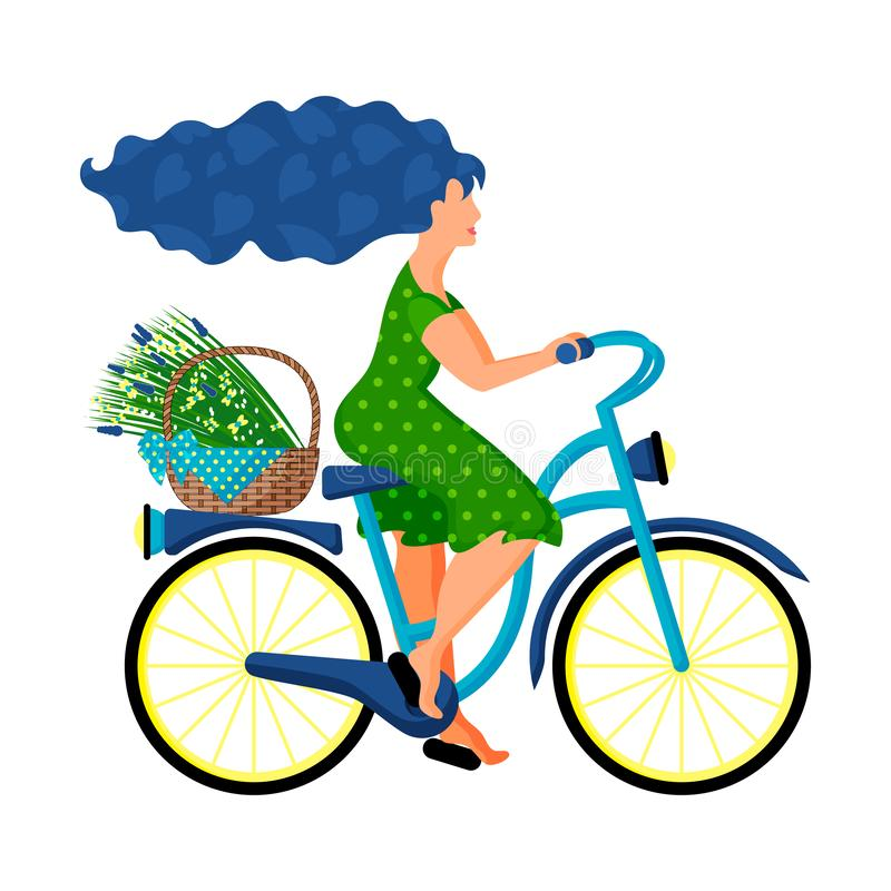 A young woman in a green dress rides a bicycle with a basket of wild flowers royalty free illustration