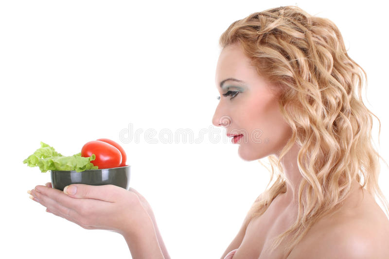 Download Young Woman With Green Salad An Tomatoes Stock Image - Image: 16579461
