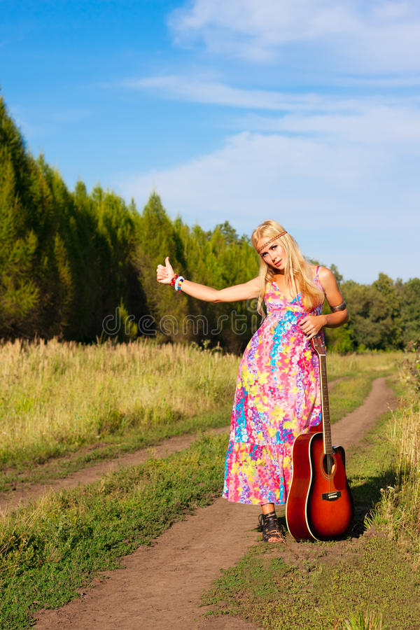 Download Young woman with guitar stock photo. Image of hike, pretty - 26143732