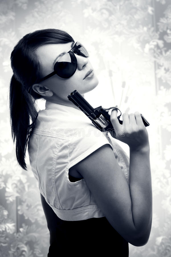 Young Woman With Gun Royalty Free Stock Photo