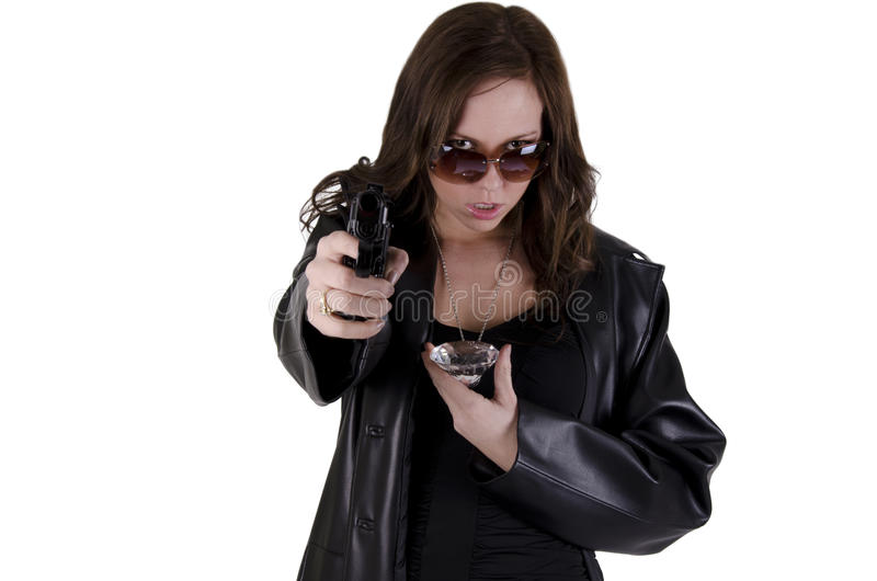 Download Young woman with gun. stock photo. Image of pistol, expensive - 25041810