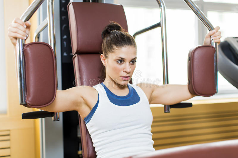 Download Young woman in the gym stock image. Image of breast, power - 29417769