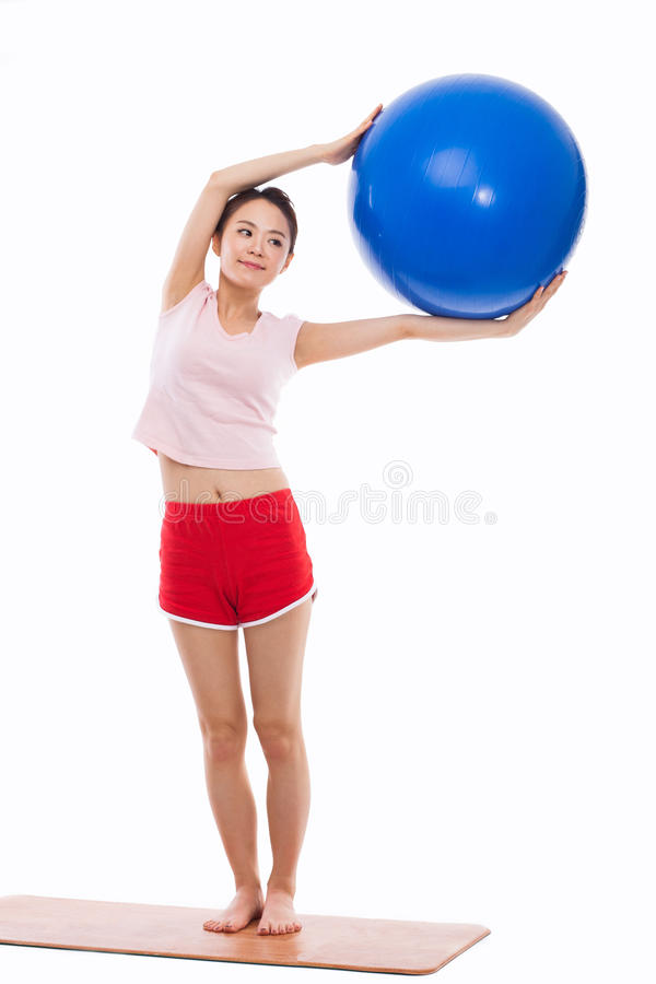 Download Young Woman With Gym Ball Isolated On White Stock Photo - Image: 29432568