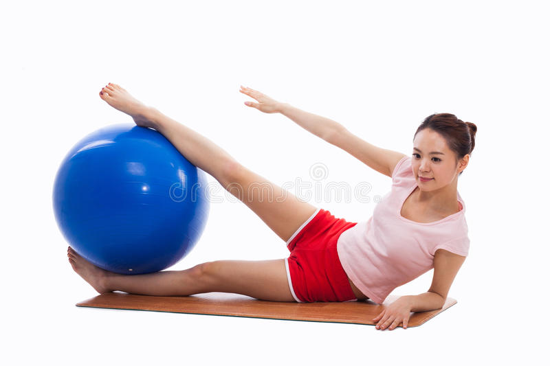 Download Young Woman With Gym Ball Isolated On White Stock Image - Image of beauty, health: 29432579