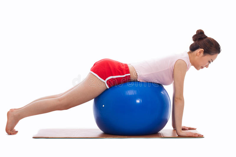 Young Woman With Gym Ball Isolated On White Stock Photos