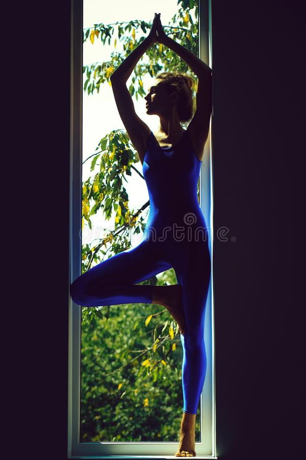 Young sexy woman gymnast. Young woman gymnast with prety face sexy slim body silhouette in blue leotard posing in yoga asana near window indoor royalty free stock images