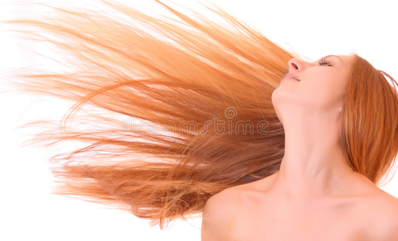 Young woman with hair stock image