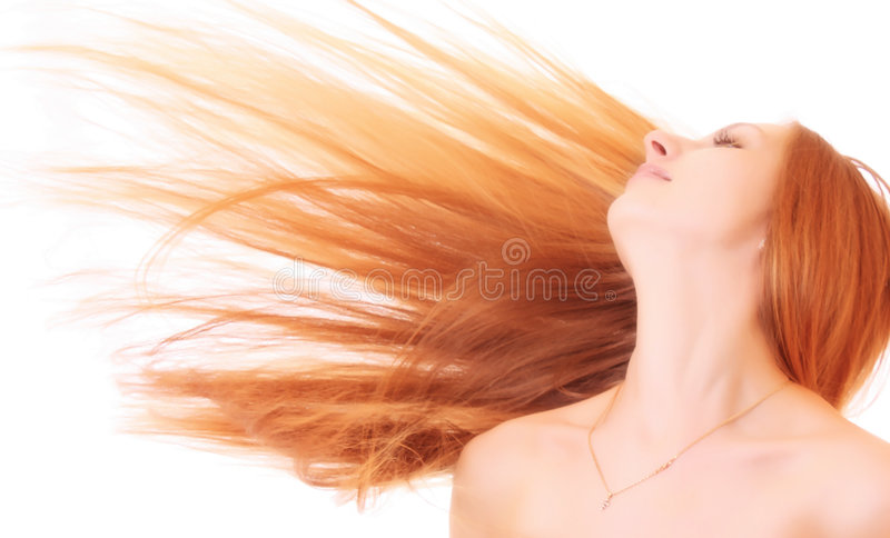 Young woman with hair isolated royalty free stock photography