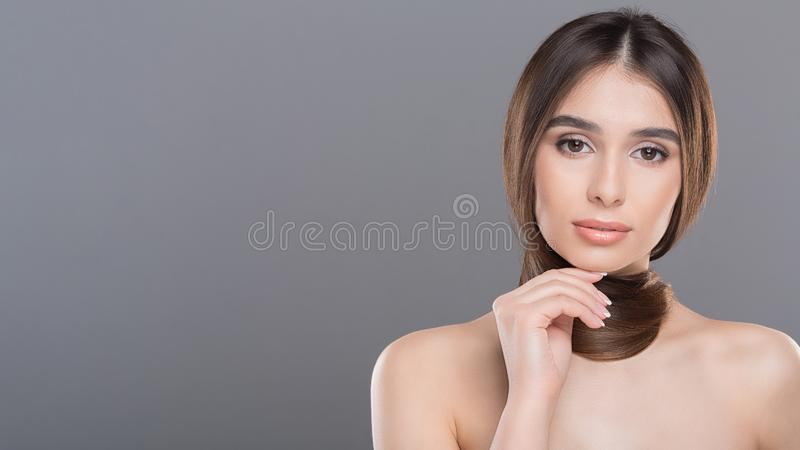 Young woman with hair scarf, panorama with free space. Healthy strong long hair concept. Young woman with hair scarf, panorama with free space royalty free stock images