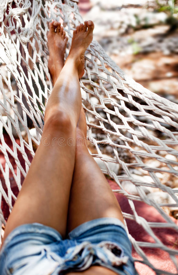 Young Woman In Hammock. Stock Photography