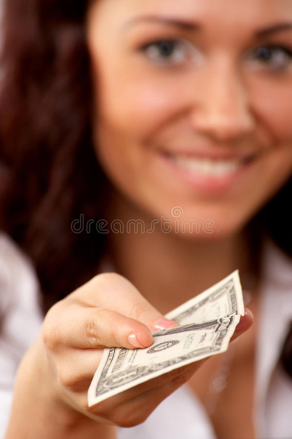 Download Young Woman Hand Holding One Dollar Stock Image - Image: 18876553