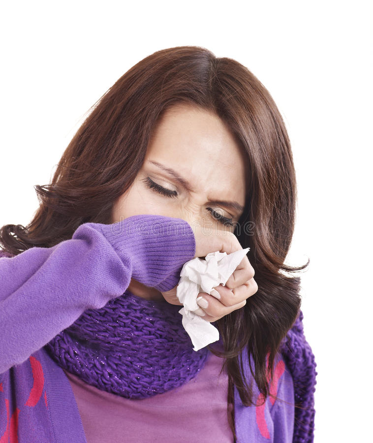 Download Young Woman With Handkerchief Having  Cold. Stock Photo - Image: 17442672