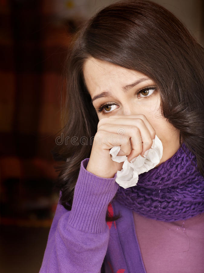 Download Young Woman With Handkerchief Having  Cold. Stock Photo - Image: 18005254