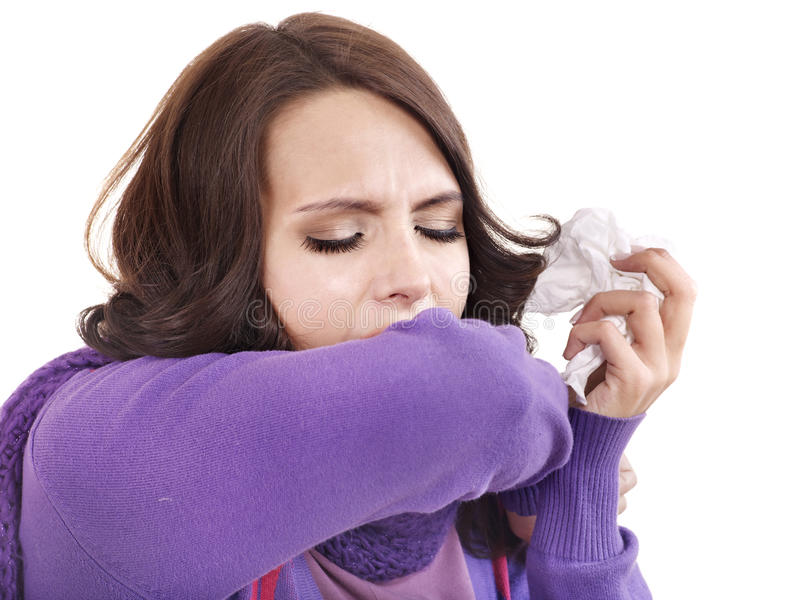 Download Young Woman With Handkerchief Having  Cold. Stock Photo - Image of allergy, chill: 21130048