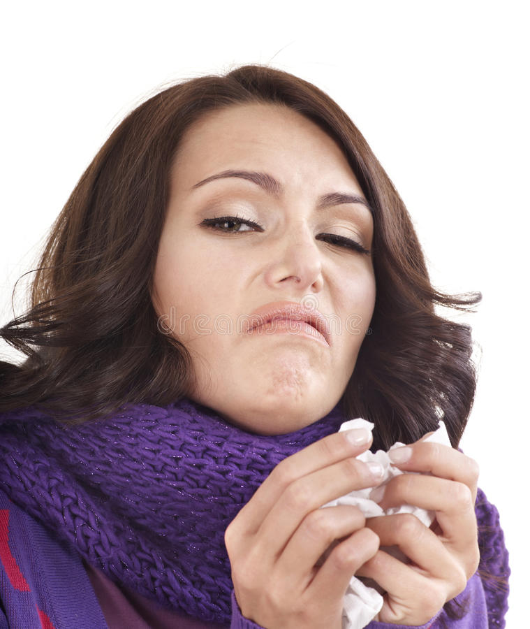 Download Young Woman With Handkerchief Having  Cold. Stock Image - Image of sick, contagion: 21634385