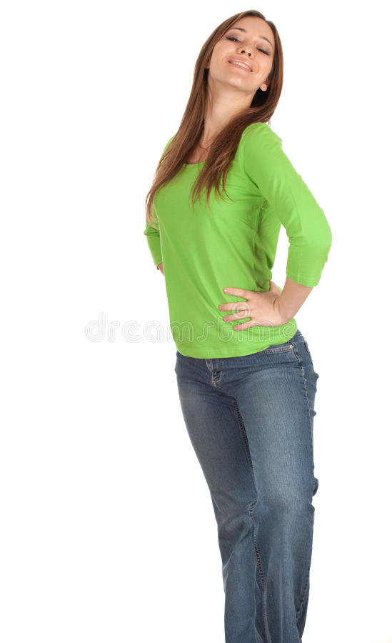 Download Young Woman With Hands On Hips Stock Image - Image of pretty, adult: 18743785