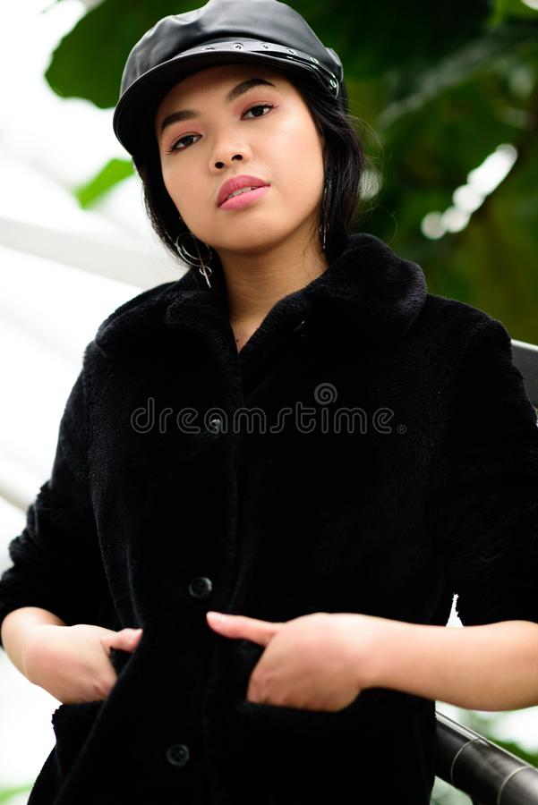 Young woman with hands in pocket royalty free stock photos