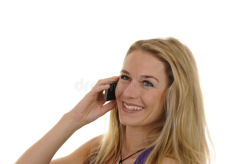 Young Woman With Handy Royalty Free Stock Image