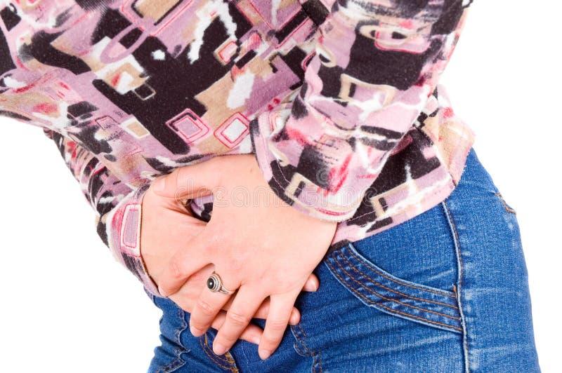 Young woman has abdominal pain stock photos