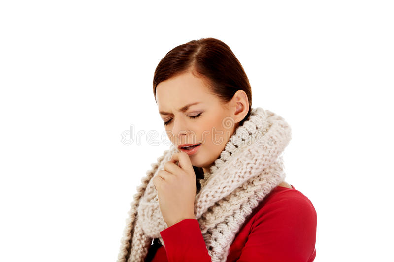 Young woman has a flu. Coughing. Young woman has a flu-coughing stock photo