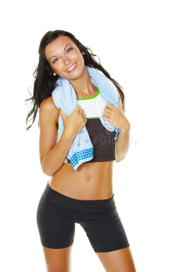 Young woman has fun workout royalty free stock photo