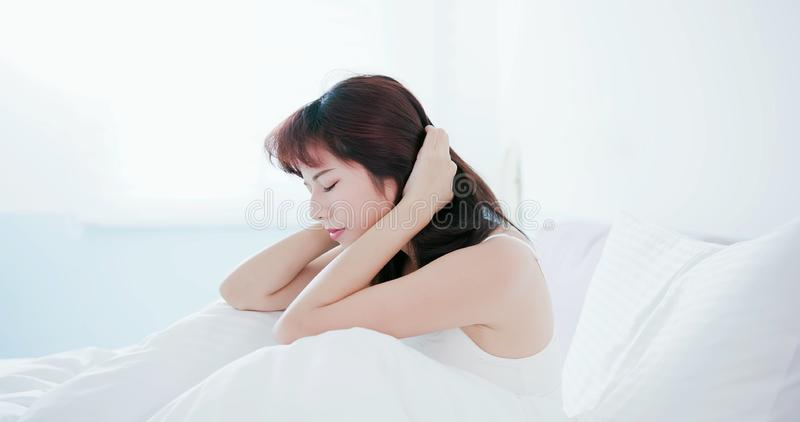 Woman has a trouble sleeping stock photography