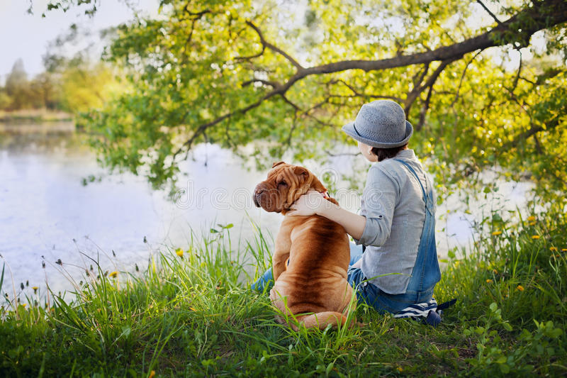 Young woman in a hat with dog Shar Pei sitting in the field and looking to the river in golden sunset light royalty free stock images
