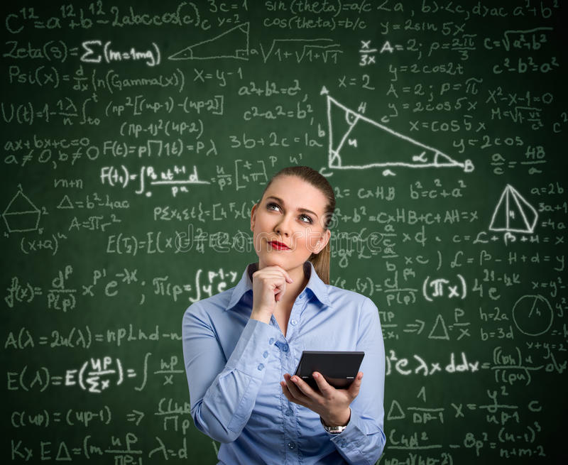 Young woman have problem with mathematics stock photos