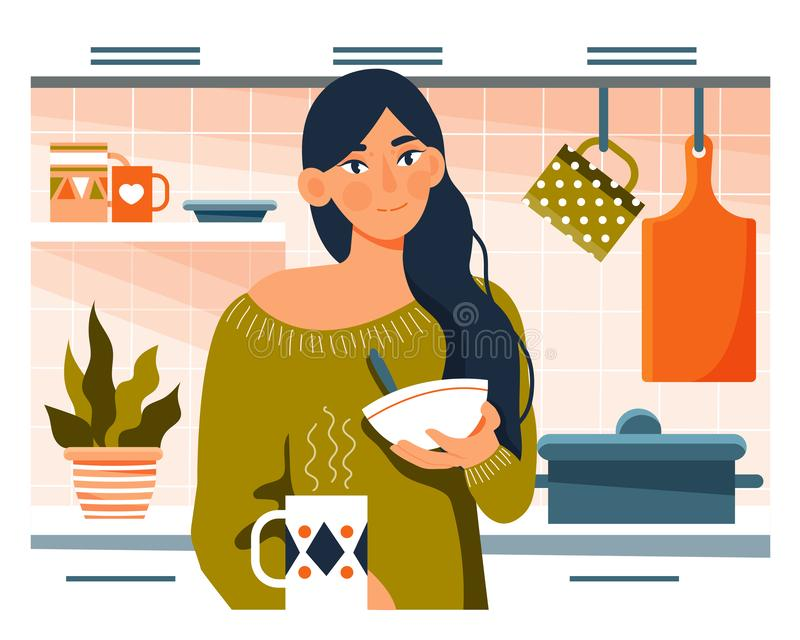 Daily life concept. Young woman having breakfast in her kitchen royalty free illustration