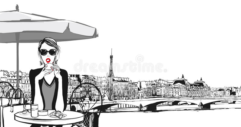Young woman having breakfast in Paris royalty free illustration