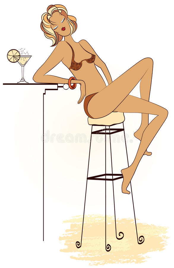 Young woman having cocktail at the beach bar stock illustration