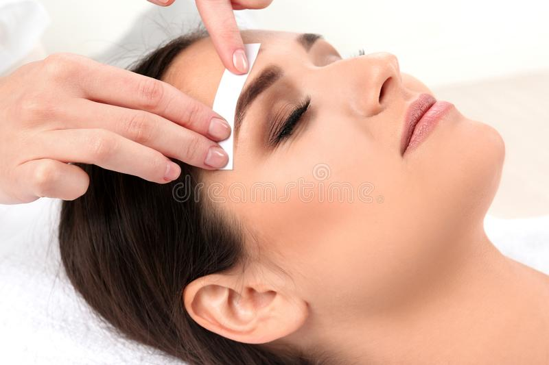 Young woman having eyebrow correction. Young woman having professional eyebrow correction procedure in beauty salon royalty free stock photos