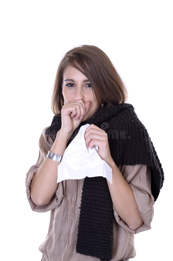 Download Young woman having the flu stock image. Image of long - 16801531