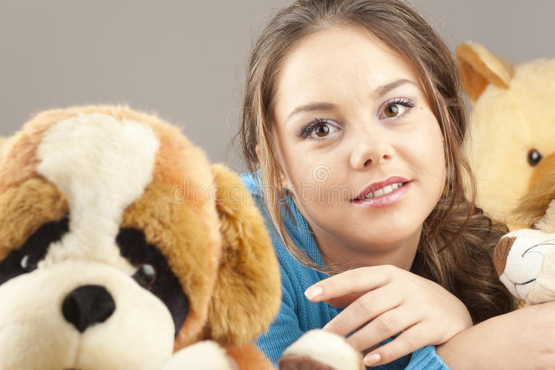 Young woman having fun playing stock images